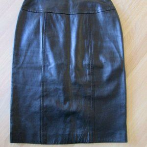 Chanel AUTH Black Lambskin Leather Skirt 6-8
